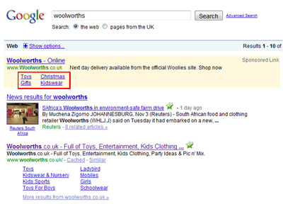 PPC  Ad Sitelinks example on a search for Woolworths