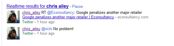 Example of Twitter results on a Google Search Results page