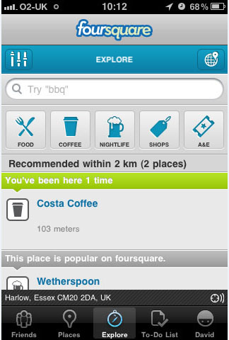 Foursquare's Explore Options
