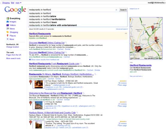 Google Places Screenshot with Google Instant enabled.