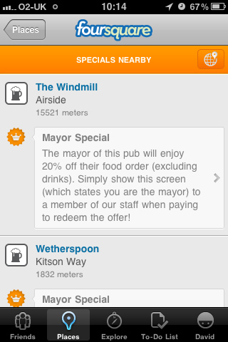 More specials available on Foursquare v3.0