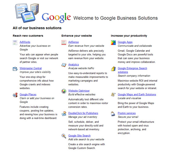 A list of services provided by Google