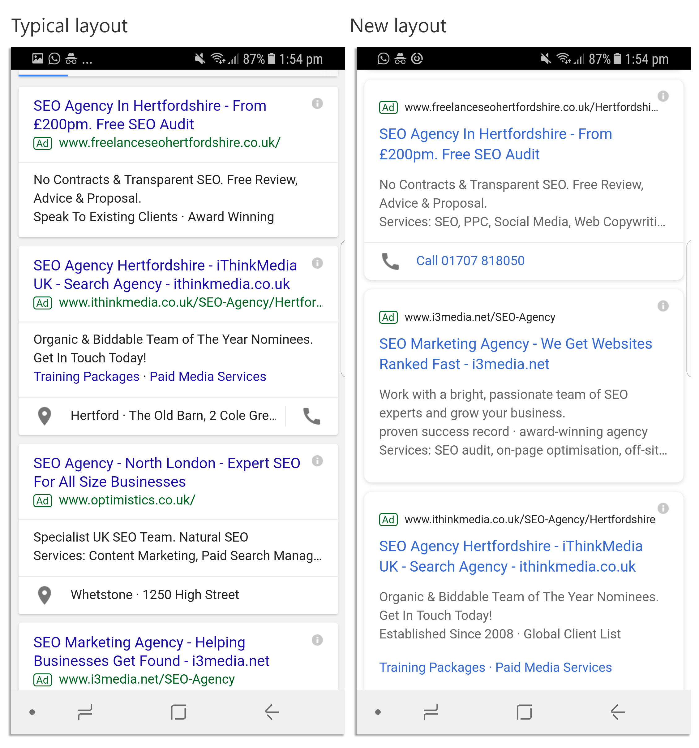 PPC Ad changes in mobile SERPs