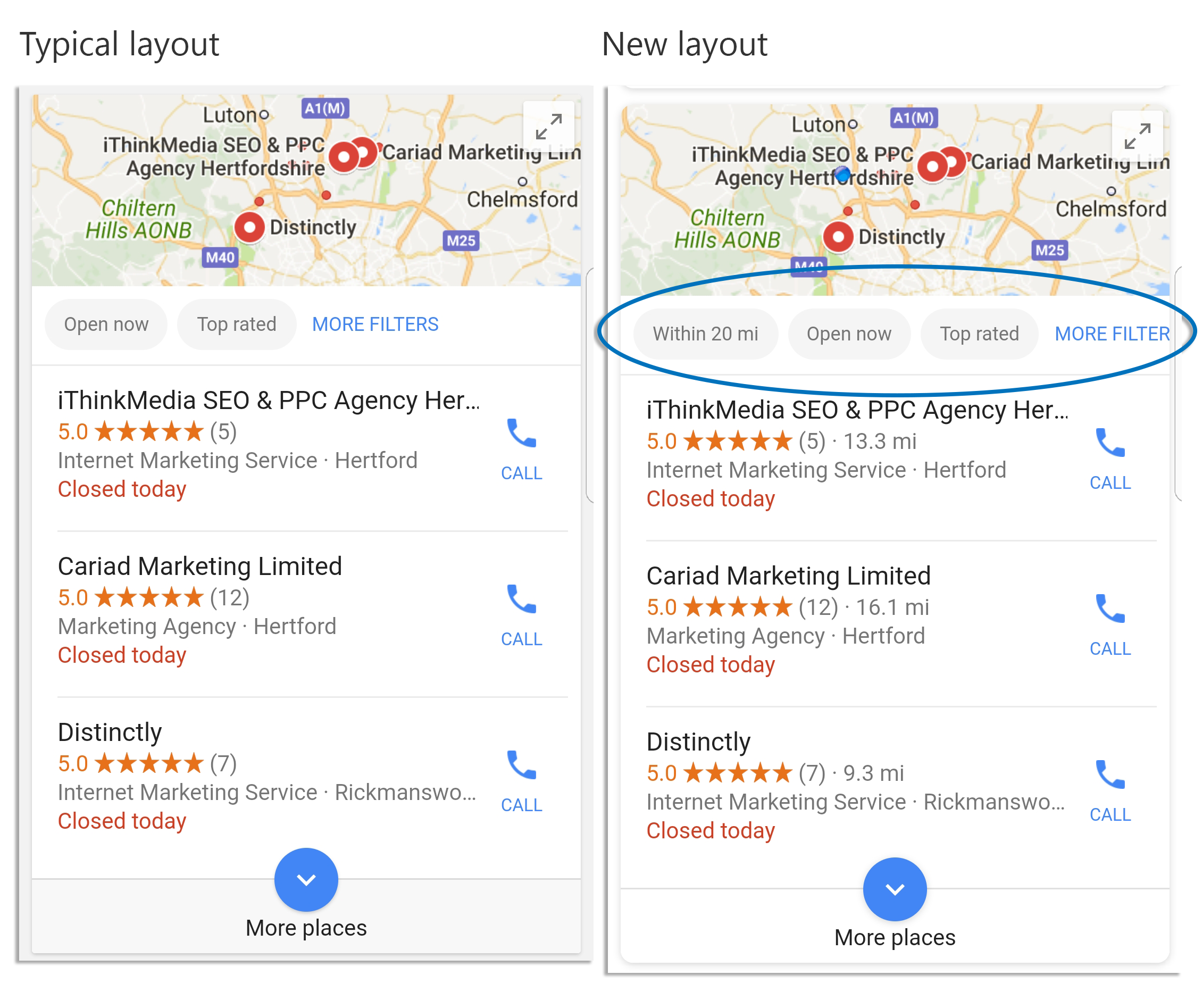 Map pack changes in mobile SERPs