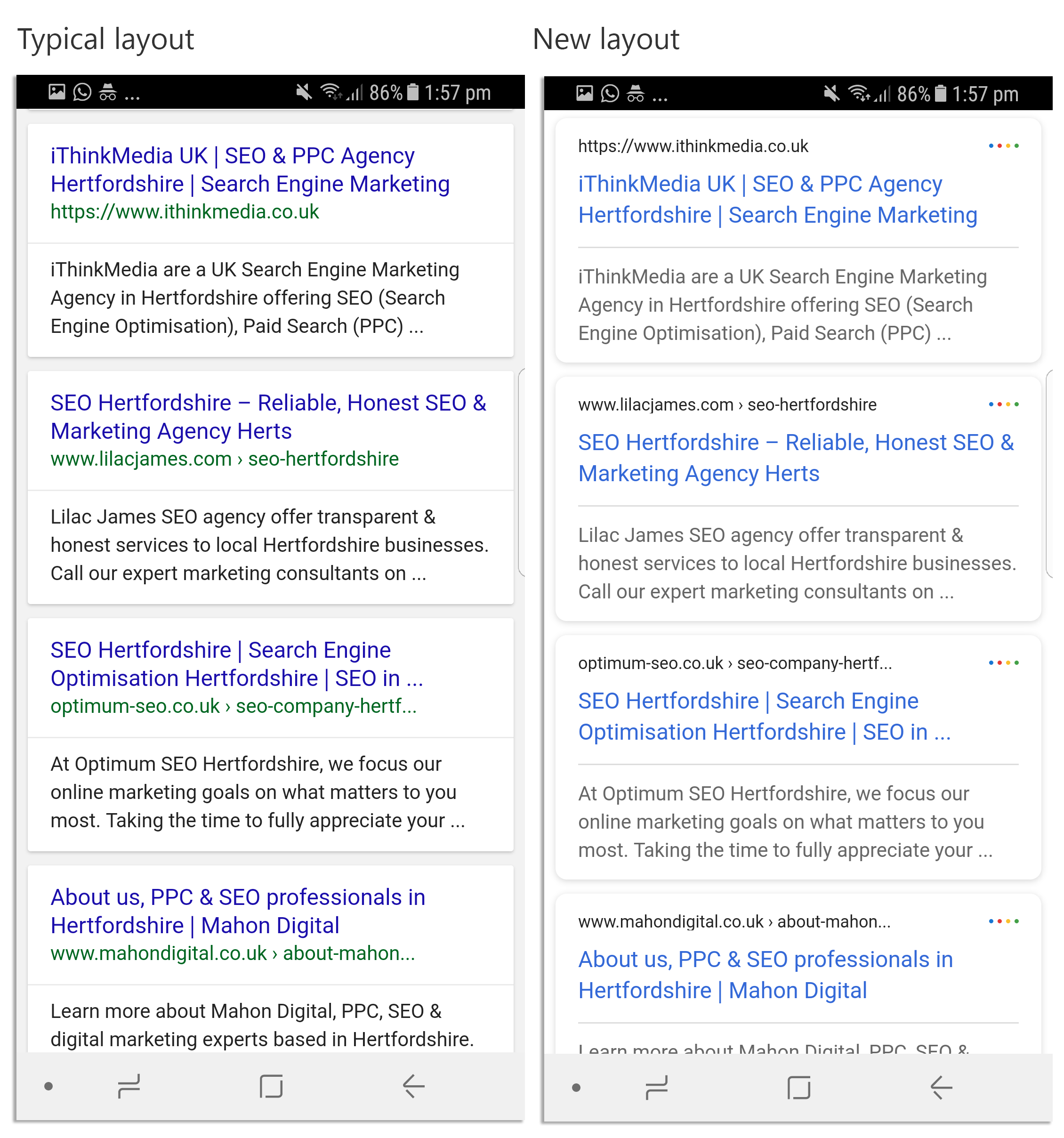 Organic mobile SERP changes