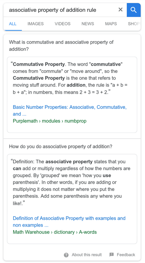 Multi faceted featured snippet