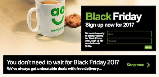 Good example of a Black Friday landing page