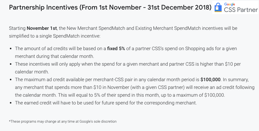 Google CSS Incentives