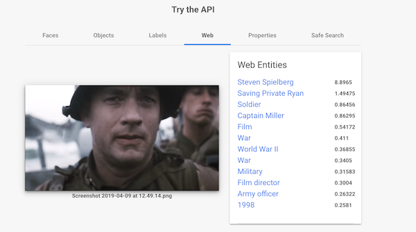 Saving Private Ryan Google Vision AI Scrennshot