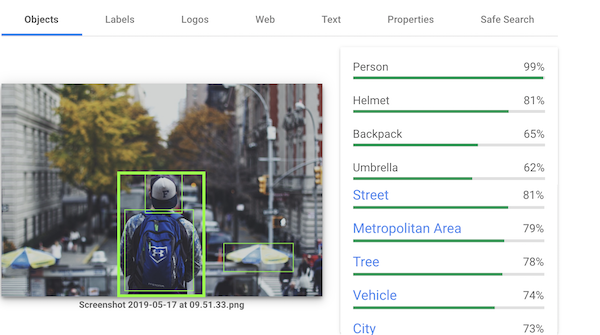 Blue Backpack Image Used for Google Vision AI