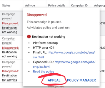 Google Ads Appeal Update