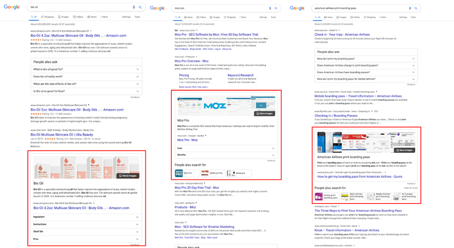 featured snippets appearing lower