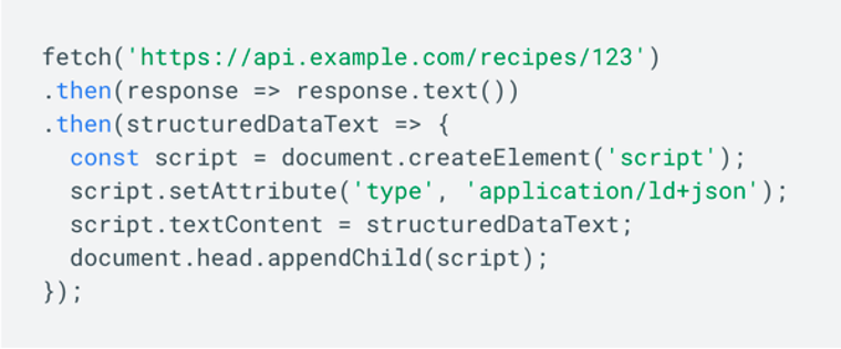 Javascript snippet to generate structured data