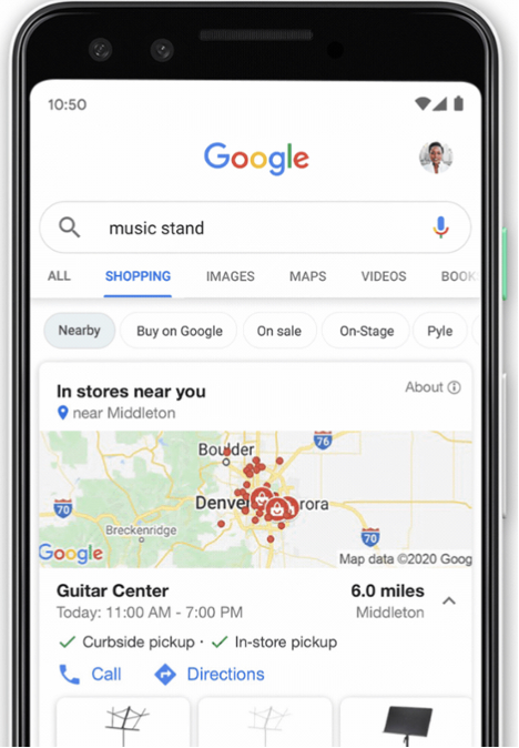 Phone Graphical Interface Showing Near Me Feature
