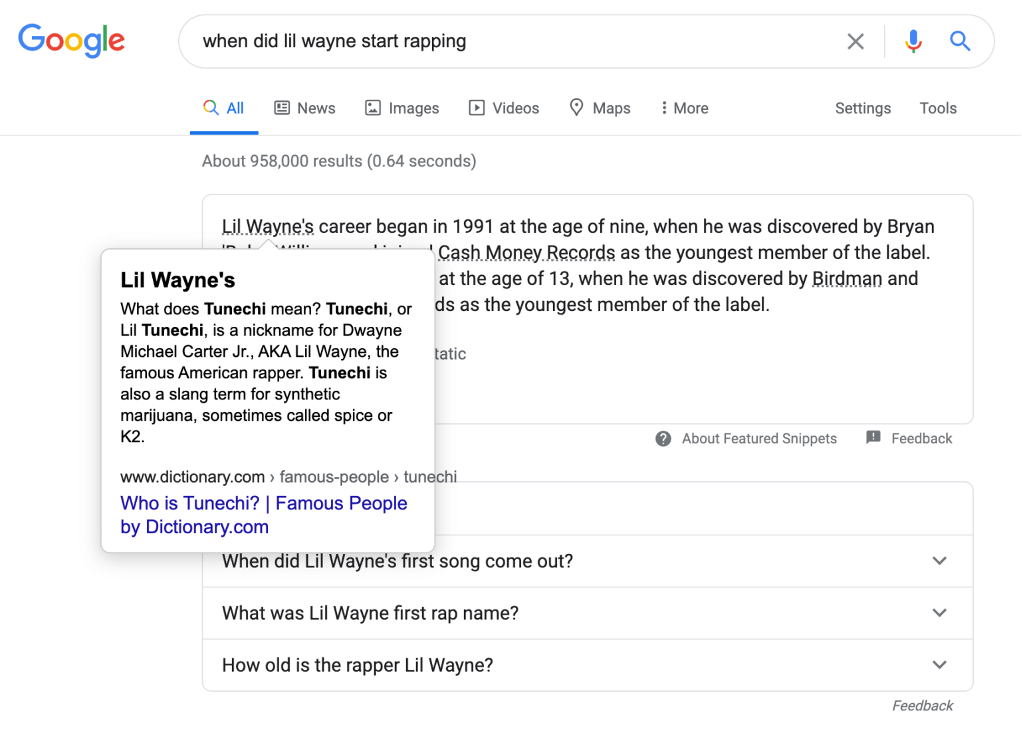 New Featured Snippets